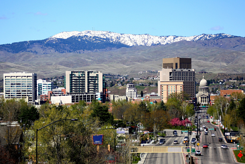 looking over downtown Boise Idaho from the Train Depot