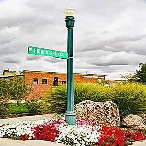Signpost for Hidden Springs in Boise Idaho