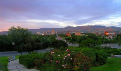 Boise Idaho skyline at sunset.