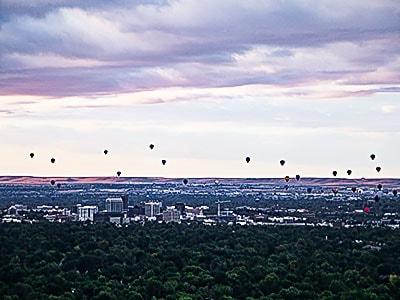 Ballons over downtown Boise - Idaho Real Estate
