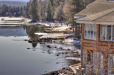 Shore Lodge view of the bank of Payette Lake in McCall Idaho