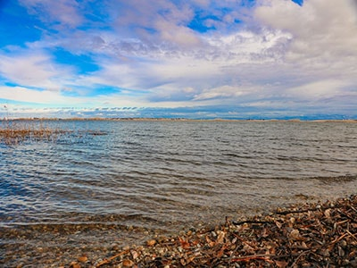 Looking across Lake Lowell in Nampa Idaho