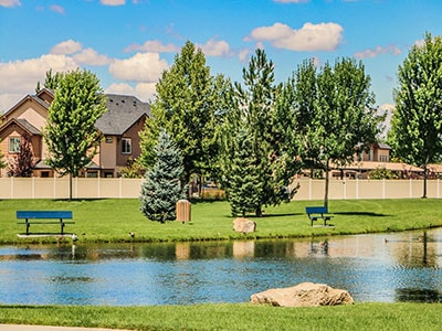 Park benches at Settlers Park in Meridian Idaho