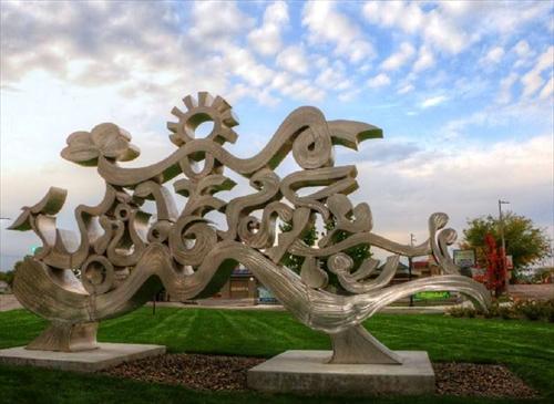 Art scuplture in the park in Meridian Idaho