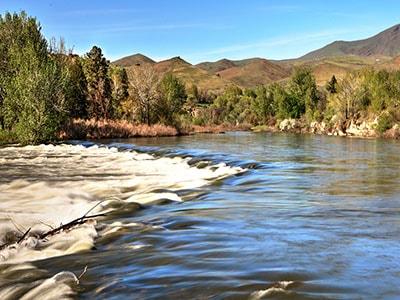 The Payette River flowig through Emmett
