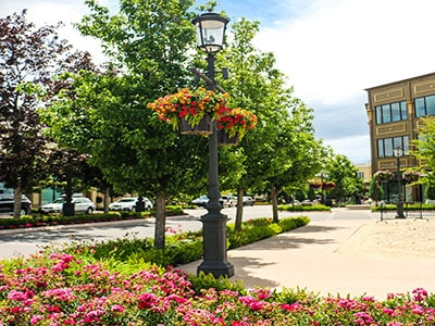 Flower and tree lined streets of the Village at Meridian